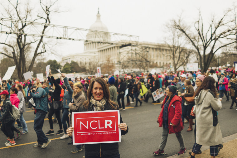 National Center for Lesbian Rights (NCLR) Executive Director Kate Kendell at the Women's March in Washington, D.C., on Jan. 21, 2017