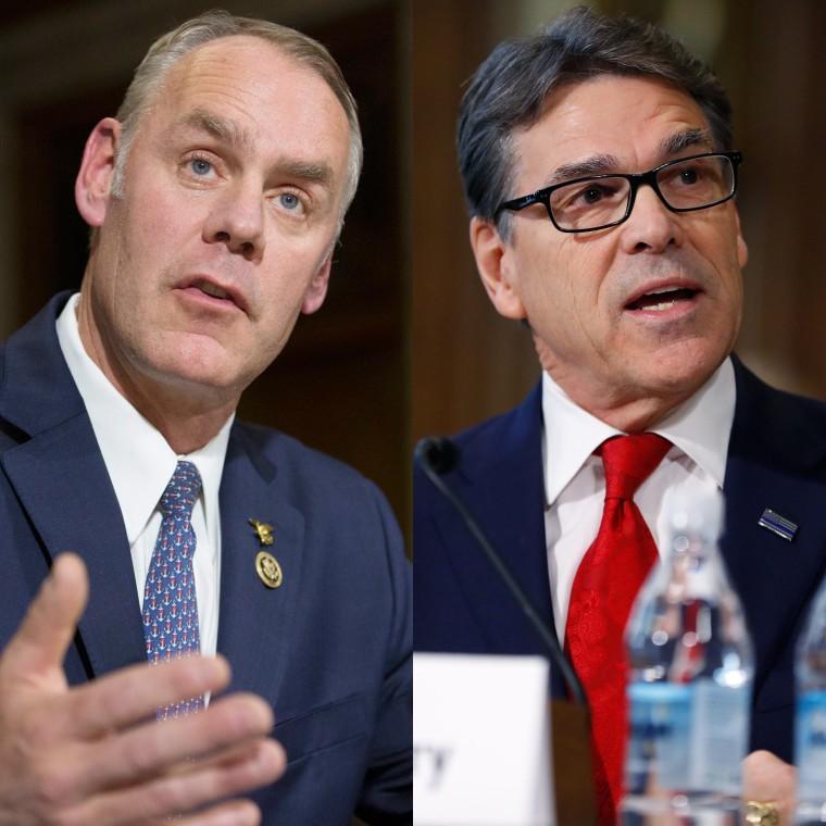 Image: (Left) Ryan Zinke, (Right) Rick Perry.