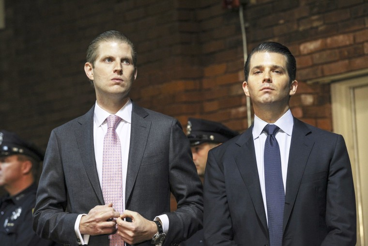 Image: Eric Trump, left, and Donald Trump Jr., right, sons of Republican presidential candidate Donald Trump on Nov. 11, 2015.