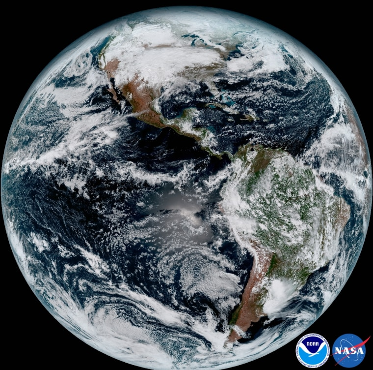 This composite color full-disk visible image is from 1:07 p.m. EDT on Jan. 15, 2017 and was created using several of the 16 spectral channels available on the GOES-16 Advanced Baseline Imager (ABI) instrument.