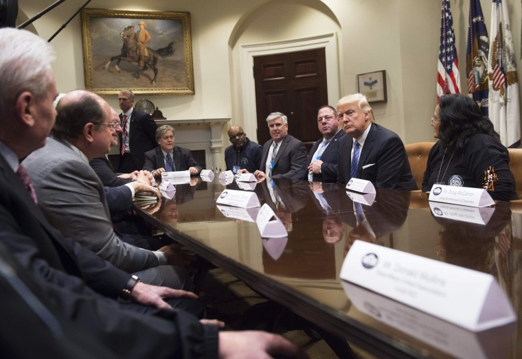 Image: President Donald Trump meets with Union leaders in the Roosevelt Room of the White House in Washington, D.C., Jan. 23, 2017.