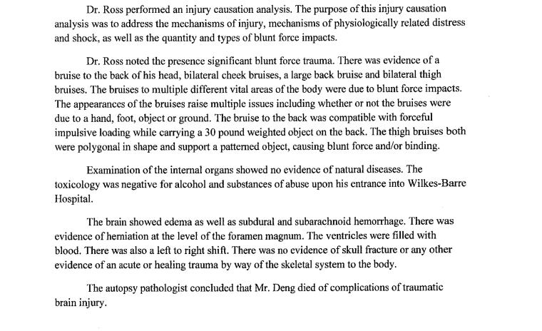An excerpt of court documents detailing a forensic pathologist's analysis of Michael Deng's cause of death.