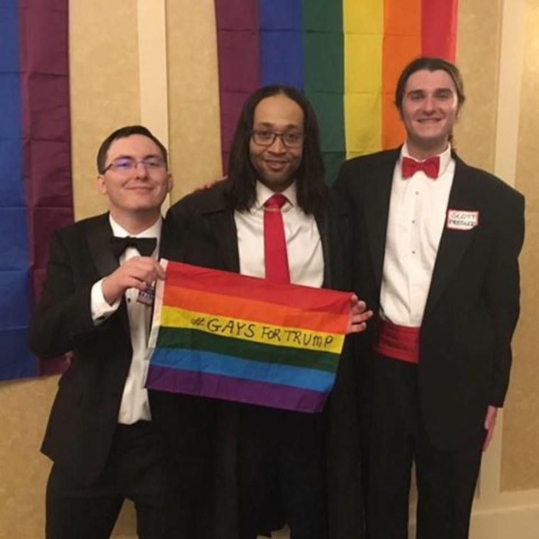 (L-R) Gays for Trump President Peter Boykin, Gays for Trump member David Smith and Gays for Trump Chairman Scott Presler at the DeploraBall on Jan. 20, 2017