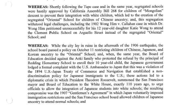 An excerpt of a San Francisco School Board resolution detailing the segregation of students of Asian descent from San Francisco's public schools.