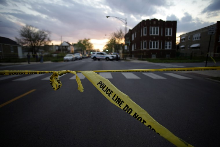 Image: Chicago Police crime tape is displayed at the scene on a shooting on April 25, 2016 in Chicago, Ill.
