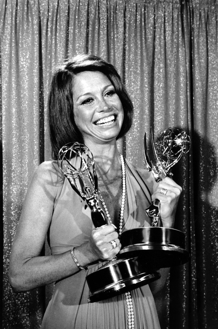 Image: Mary Tyler Moore holds her Emmys at the 26th Annual Primetime Emmy Awards in Los Angeles, Calif., on May 28, 1974.