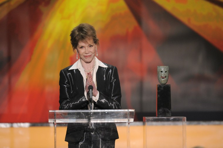 Image: Mary Tyler Moore accepts the Life Achievement award at the 18th Annual Screen Actors Guild Awards on Jan. 29, 2012 in Los Angeles, Calif.