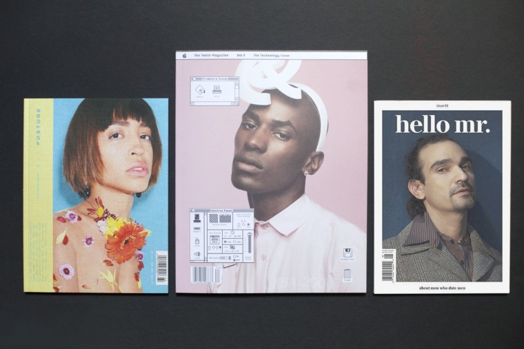 The covers of Posture, The Tenth and Hello Mr.