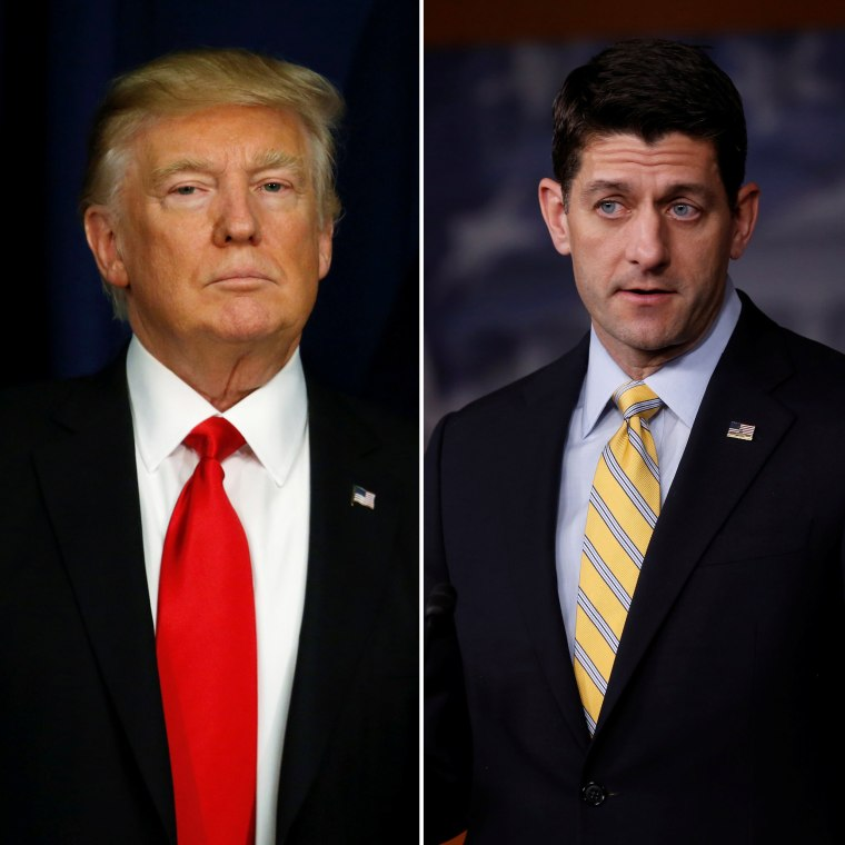 Image: (Left) President Donald Trump in Washington on Jan. 25, 2017. (Right) House Speaker Paul Ryan holds a news conference at the U.S. Capitol in Washington on Jan. 5, 2017.