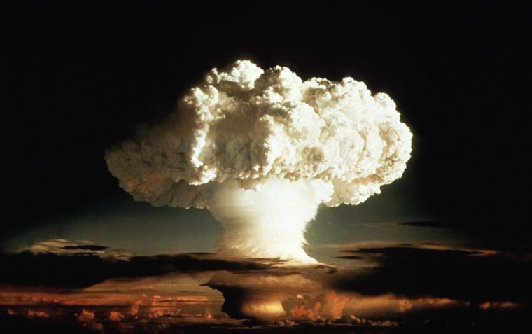 "Image: - 1952 FILE PHOTO - The mushroom cloud of the first test of a hydrogen bomb, ""Ivy Mike"", as photogra.."
