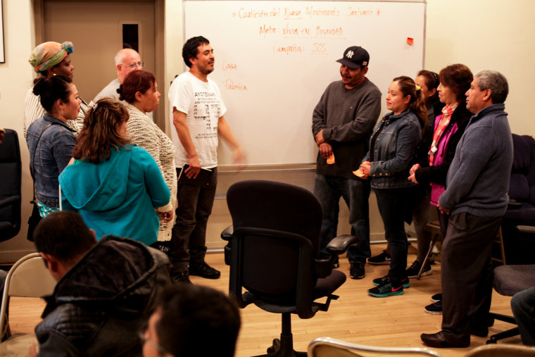The New Sanctuary Movement Coalition holds a workshop in a church where participants role play immigration arrest scenarios to learn what their rights are and how to express them. The January 2017 workshop have become more urgent as President Donald Trump has signed executive orders ramping up immigration enforcement.