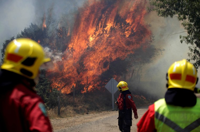 Image: Firefighters are pictured during a forest fire in the town of Florida in the Biobio region, south of Chile