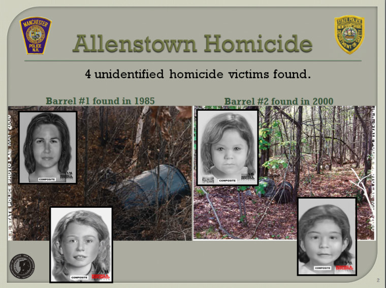 The bodies of a young woman and three girls were found in barrels in Allenstown, New Hampshire, in 1985 and 2000.