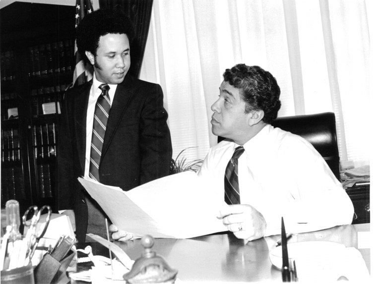 Former Rep. Robert Garc?a, who represented a district in the Southern Bronx from 1977-1991, meets with the Congressional Hispanic Caucus Institute's first fellow Jose M. Garzon in this undated photo. Garc?a died in a veterans hospital in Puerto Rico on Wednesday, Jan. 25, 2017. He was 84.
