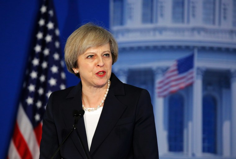 Image: UK Prime Minister Theresa May speaks during the Congress of Tomorrow, Republican Member Retreat, at the Loews Philadelphia Hotel on Jan. 26 in Philadelphia, Pennsylvania.