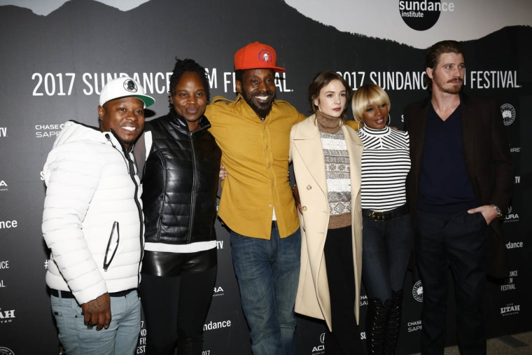 Actor Jason Mitchell, Director Dee Rees, Actor Rob Morgan, Actor Carey Mulligan, Actor Mary J. Blige and actor Garrett Hedlund attend the World Premiere of 'Mudbound' by Dee Rees, an official selection of the Premieres program at the 2017 Sundance Film Festival.
