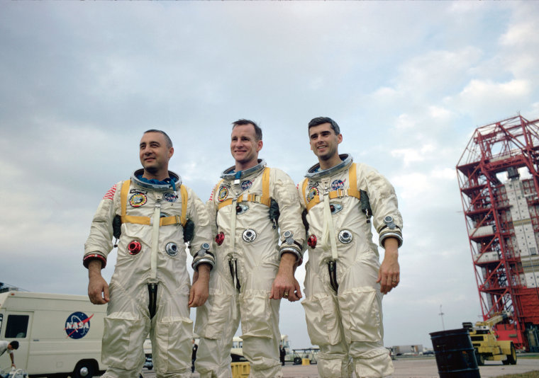The prime crew of the NASA's first manned Apollo Space Flight, pose during training in Florida. From left, astronauts Virgil I. Grissom, Edward H. White II, and Roger B. Chaffee.