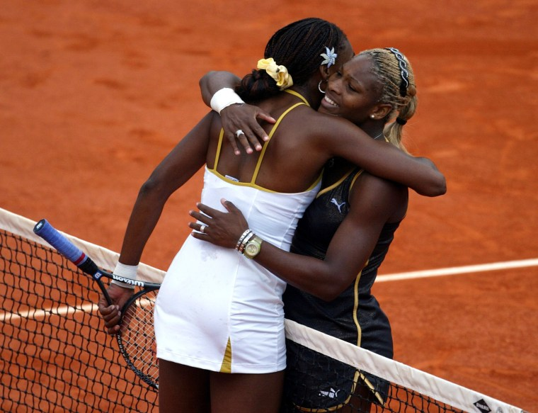 Image: Serena Williams and Venus Williams at French Open in 2002