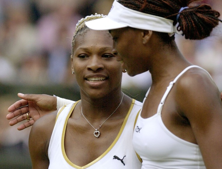 Image: Venus and Serena Williams at Wimbledon in 2002