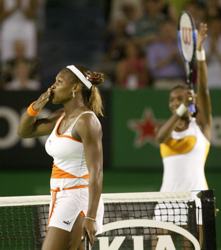 Image: Serena Williams blows kisses after defeating sister Venus in Australian Open Final.