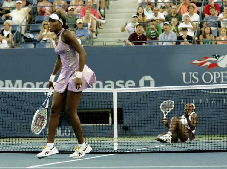 Image: Venus and Serena Williams during their match at the U.S. Open in 2005