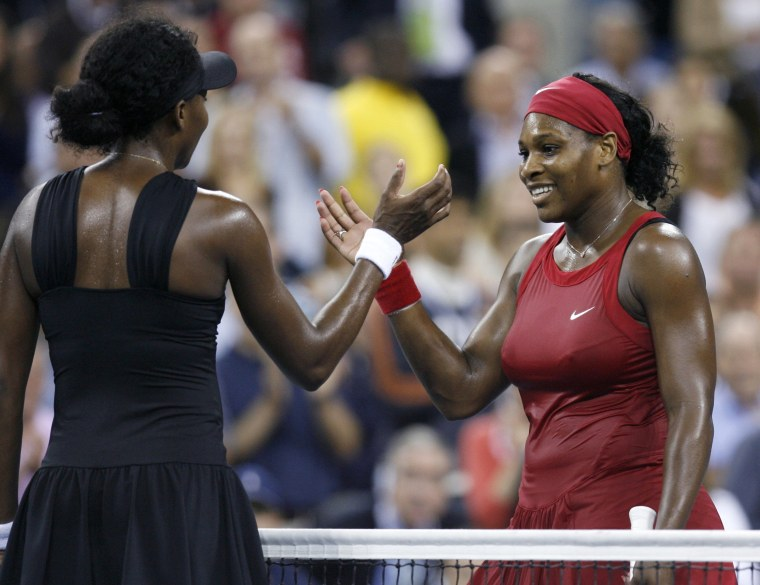 Image: Serena Williams of the U.S. greets her sister Venus after defeating her at U.S. Open tennis tournament in New York