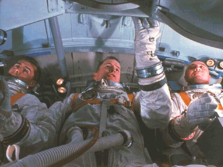 The Apollo 1 crew, from left to right, Roger Chaffee, Ed White and Gus Grissom.