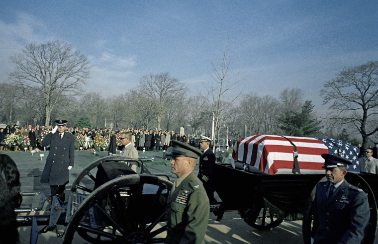 Astronaut Virgil Grissom is buried at Arlington National Cemetery on Jan. 31, 1967.