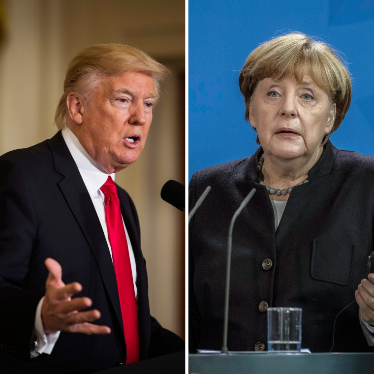 Imaeg: (Left) President Trump speaks at press conference in the East Room of the White House on Jan. 27. (Right) German Chancellor Angela Merkel gestures while speaking to the media in Berlin, Germany on Jan. 16.