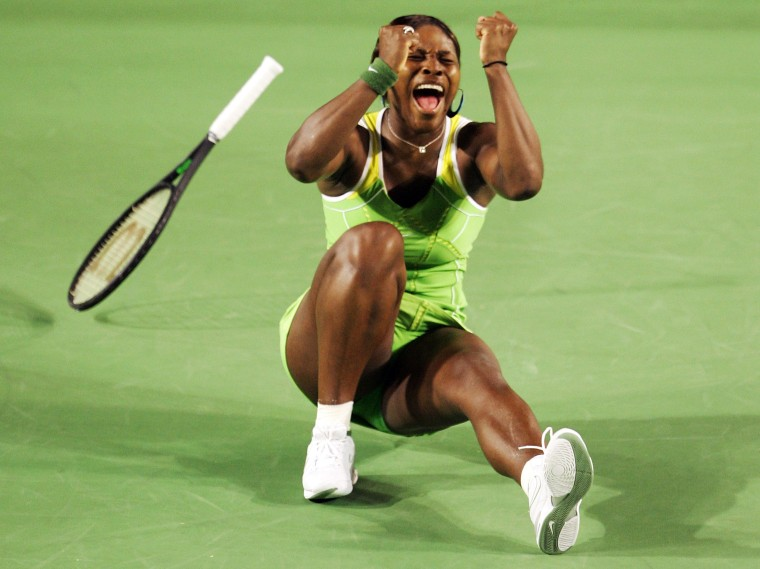 Image: 2007: Serena Williams celebrates winning her women's final match against Maria Sharapova of Russia at the Australian Open in Melbourne on Jan. 27.