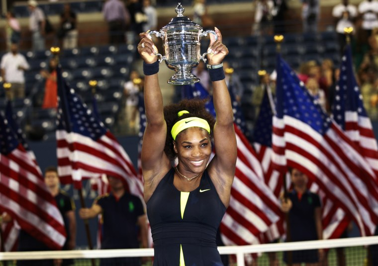 IMage: 2012: Serena Williams poses with her trophy after defeating Victoria Azarenka of Belarus in their women's singles final match at the US Open tennis tournament in New York on Sept. 9.