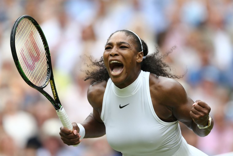Image: 2016: Serena Williams celebrates winning against Germany's Angelique Kerber during the women's singles final during the Wimbledon Championships at The All England Lawn Tennis Club in Wimbledon, southwest London, on July 9.