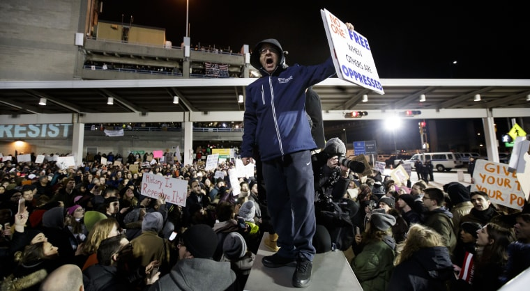 Image: Protest at New York's JFK International Airport against President Trump's immigration ban, USA - 28 Jan 2017