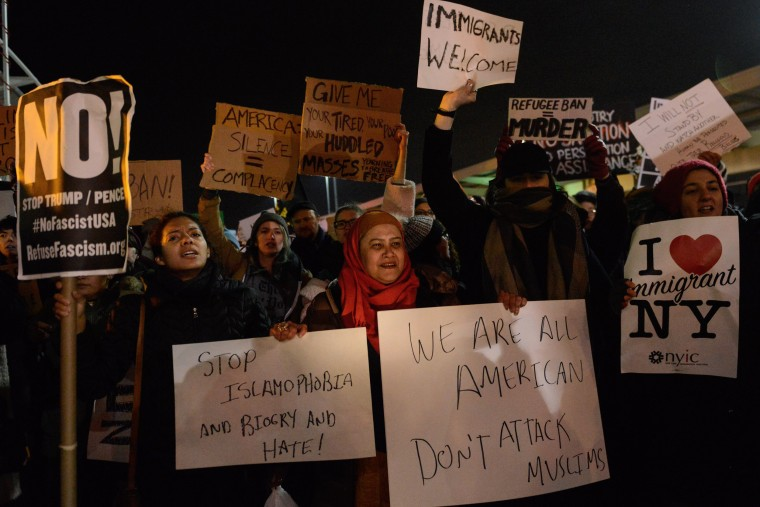 Image: Protestors Rally At JFK Airport Against Muslim Immigration Ban