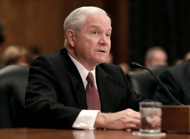 Image: Former Secretary of Defense Robert Gates testifies to support retired General John Kelly nomination to be Secretary of the Department of Homeland Security on Capitol Hill in Washington.