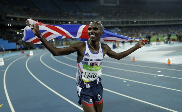 Image: Britain's Mo Farah celebrates winning the gold medal in the men's 5000-meter final, during the the 2016 Summer Olympics at the Olympic stadium in Rio de Janeiro, Brazil, Aug. 20, 2016.