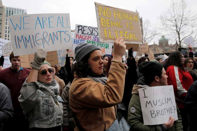 """Image: Demonstrators take part in the \""""Boston Protest Against Muslim Ban and Anti-Immigration Orders\"""" to protest U.S. President Donald Trump's executive order travel ban in Boston"""