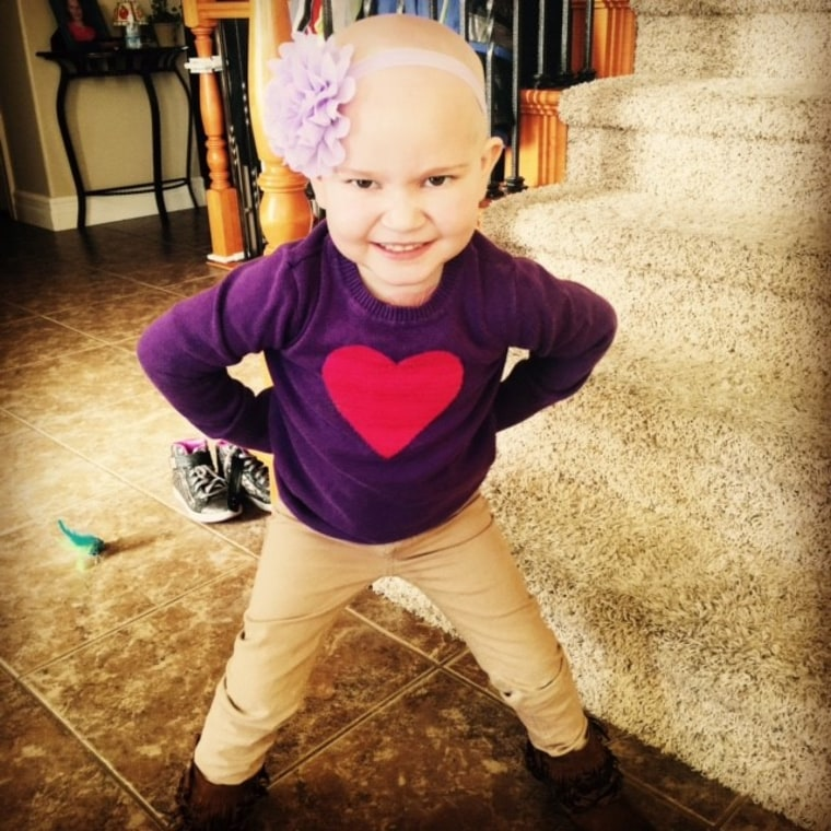 Harper Morgan smiles for the camera. She is undergoing treatment for acute lymphoblastic leukemia (ALL).