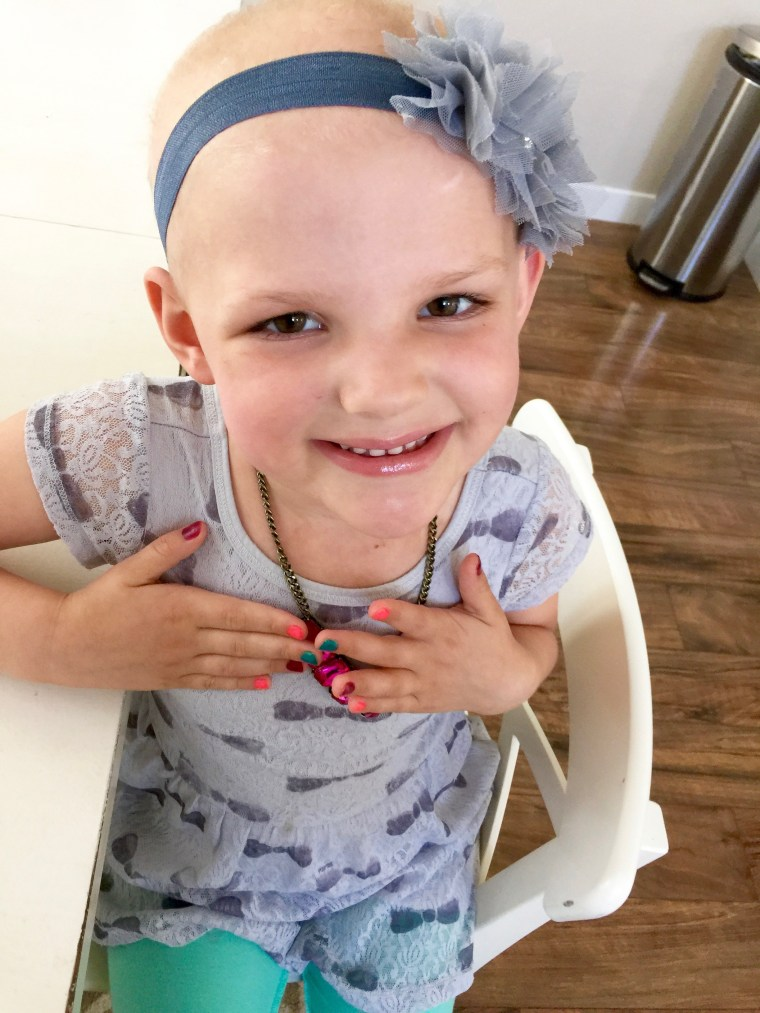 Livvi Roberts is all smiles as she shows off her pretty manicure. She is undergoing treatment for acute lymphoblastic leukemia (ALL).
