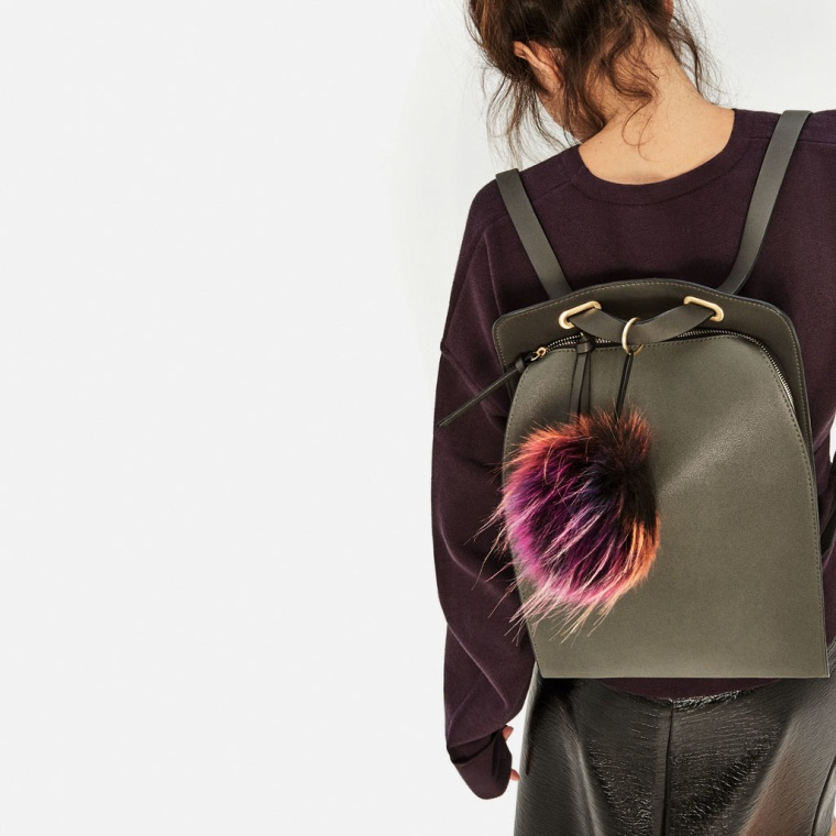 Pom Pom Crossbody Backpack