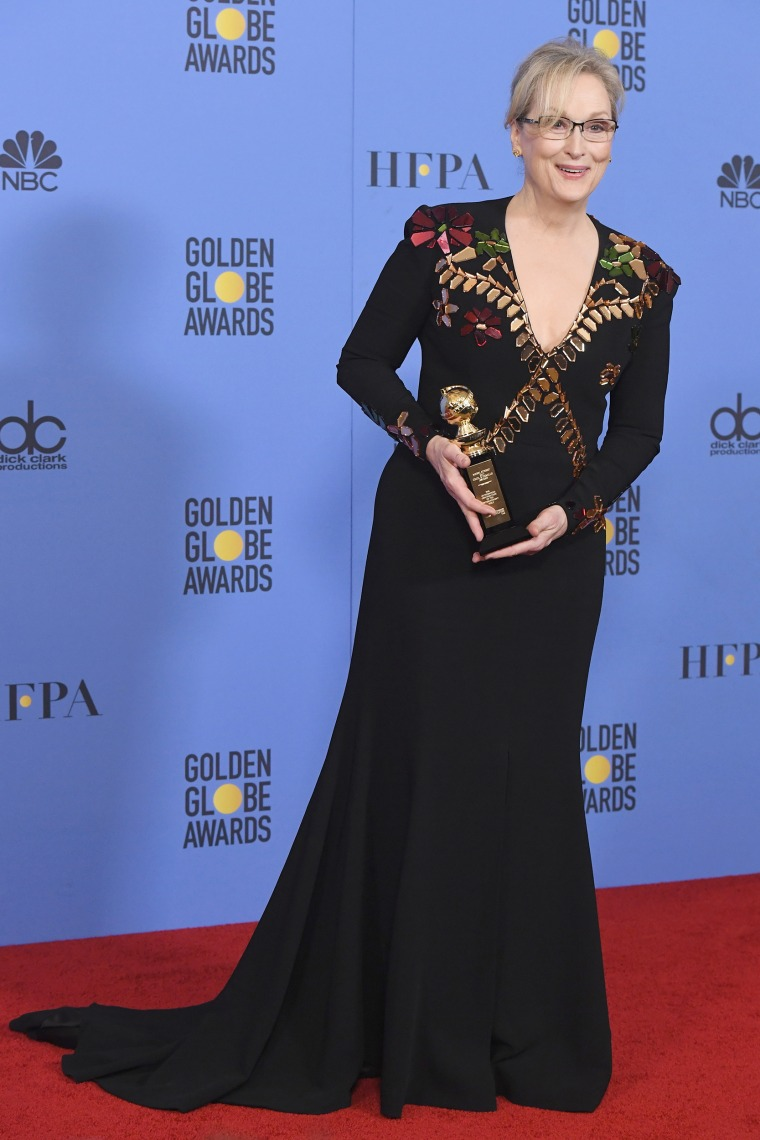 Meryl Streep, recipient of the Cecil B. DeMille Award, poses in the press room during the 74th Annual Golden Globe Awards at The Beverly Hilton Hotel on January 8, 2017 in Beverly Hills, California.