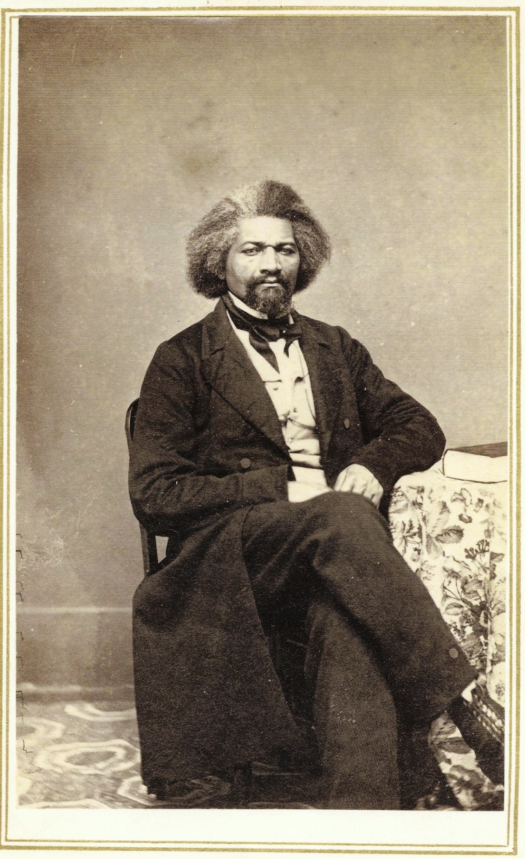 "A photograph of Frederick Douglass from a series of ""Carte de Visites""  produced from his visit to Hillsdale College on January 21, 1863."