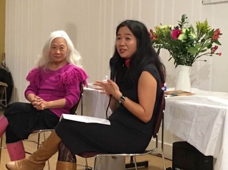 "Maxine Hong Kingston being interviewed by Vanessa Hua during a San Francisco event celebrating ""The Woman Warrior."""