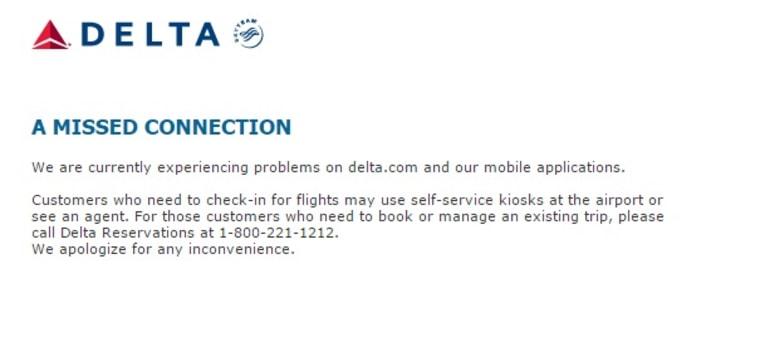 IMAGE: Delta website down
