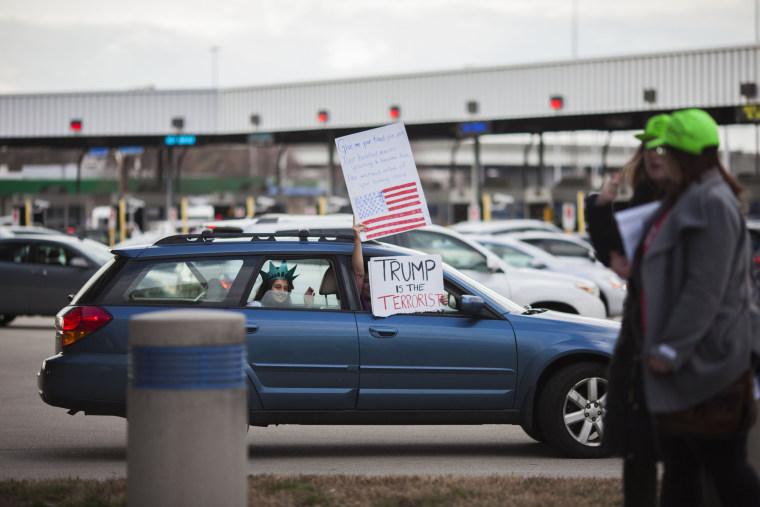 Image: Protestors Rally At Philadelphia Airport Against Muslim Immigration Ban