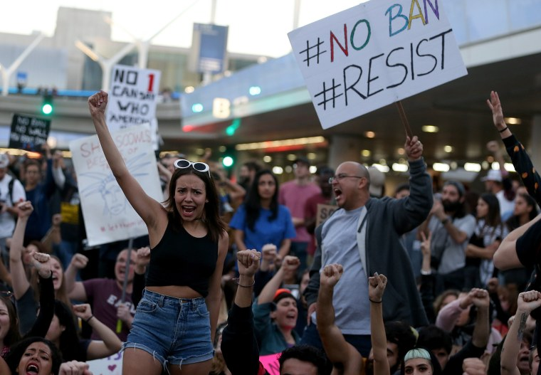 Image: Protestors Rally Against Muslim Immigration Ban At LAX
