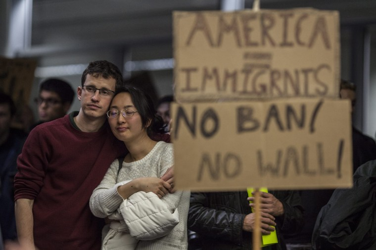 Image: Protest against President Trump's immigration ban at San Francisco International Airport