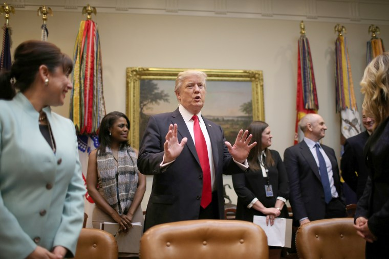 Image: U.S. President Donald Trump holds breakfast meeting with small business leaders at the Roosevelt room of the White House in Washington, DC, Jan. 30, 2017.