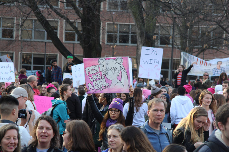 """Sailor Moon says, """"Fight Like a Girl,"""" at a local Women's March in Ann Arbor, Michigan."""