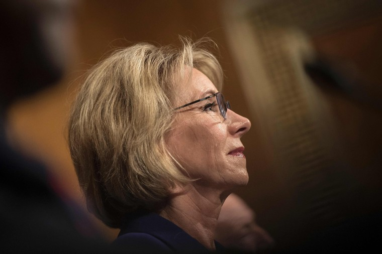 Image: Betsy DeVos listens during her confirmation hearing for Secretary of Education before the Senate Health, Education, Labor, and Pensions Committee on Capitol Hill on Jan. 17, 2017 in Washington, D.C.